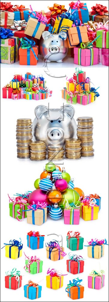 Gifts and pig moneybox - stock photo