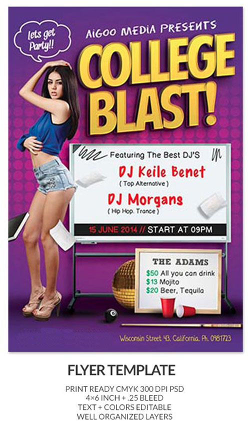 College Blast Party Flyer/Poster PSD Template