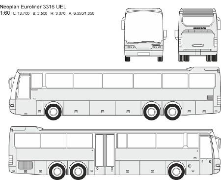 Автобусы Neoplan - векторные отрисовки в масштабе