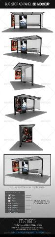 GraphicRiver - Bus Stop Ad Panel 3D Mockup